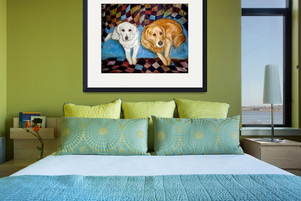 """Golden Retrievers Painting Dog Friends&quot  by francesbyrne"