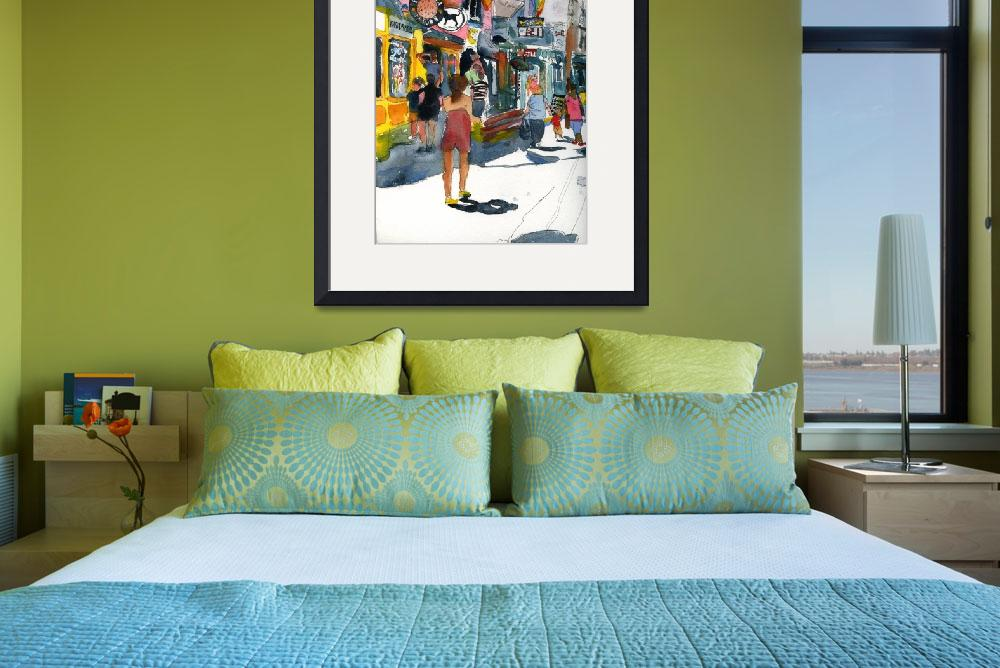 """""""Woman on Commercial Street, Provincetown Art&quot  (2010) by schulmanart"""