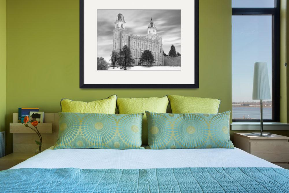 """""""Manti Temple Large-16x22-BW&quot  by TerrySpringer"""