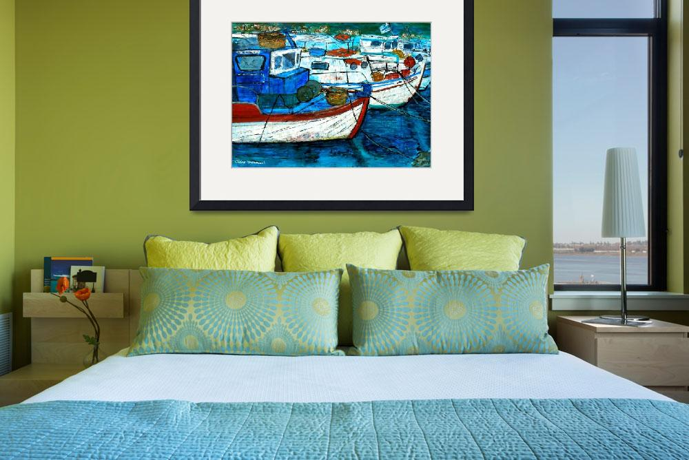 """Greek Fishing Boats - Collage""  (2012) by Jackie-Sherwood-Artist"