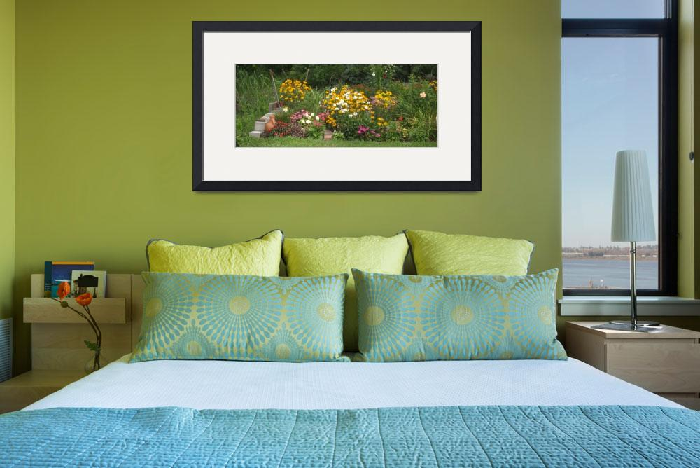 """Summer Perennial Garden Panoramic""  (2007) by MikeMBurkeDesigns"