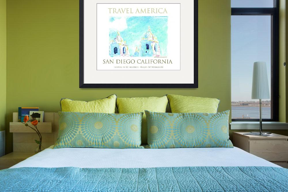 """Travel America - San Diego Art Poster&quot  by RDRiccoboni"
