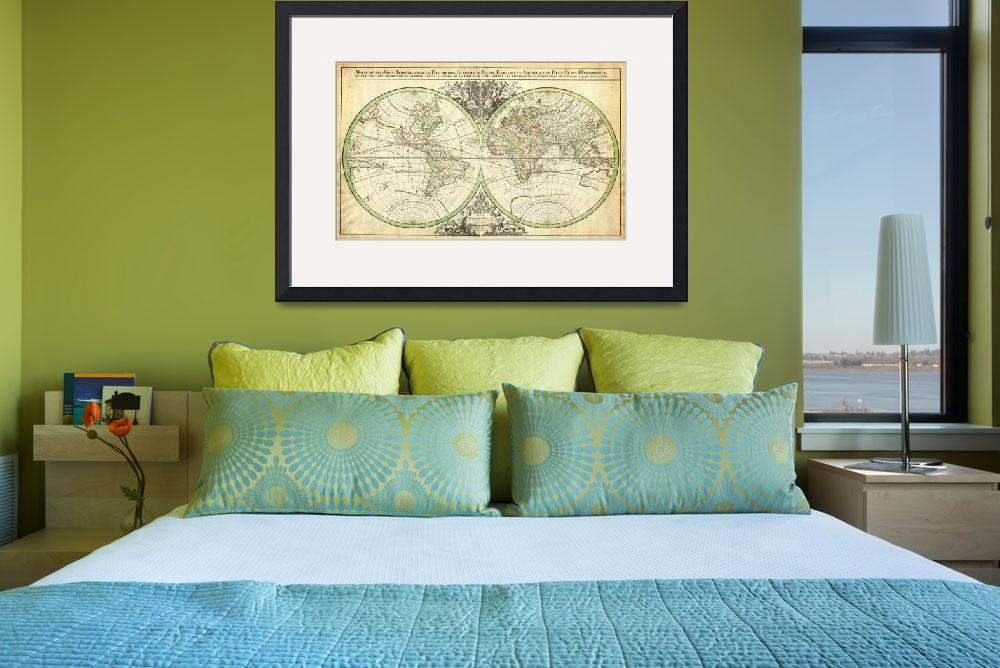 """""""1691 Sanson Map of the World on Hemisphere Project&quot  (2012) by motionage"""