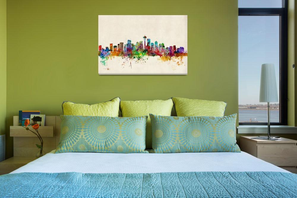 """Seattle Washington Skyline&quot  (2013) by ModernArtPrints"