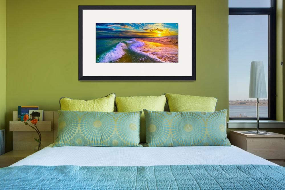 """""""ocean sunset panorama blue and yellow sunset art&quot  (2014) by eszra"""