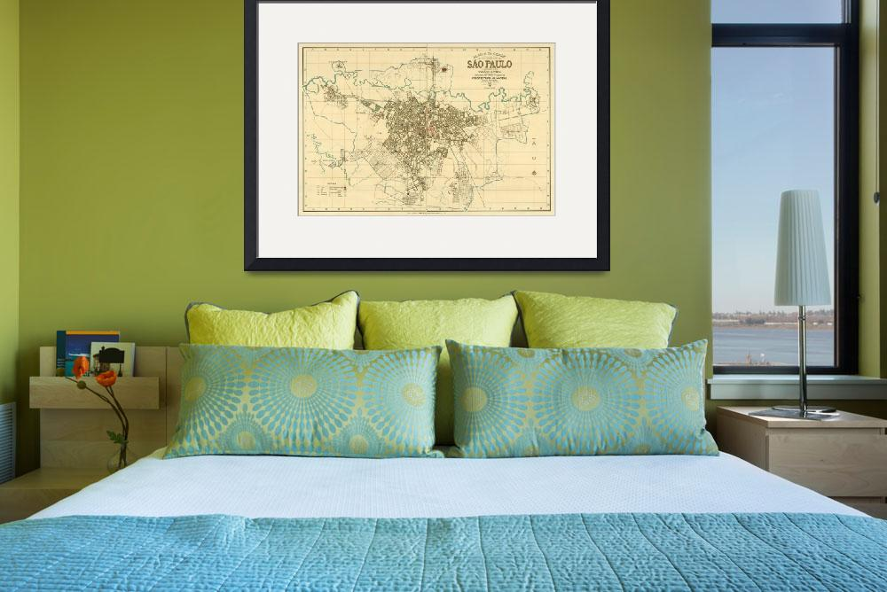 """""""Vintage Map of Sao Paulo Brazil (1916)&quot  by Alleycatshirts"""