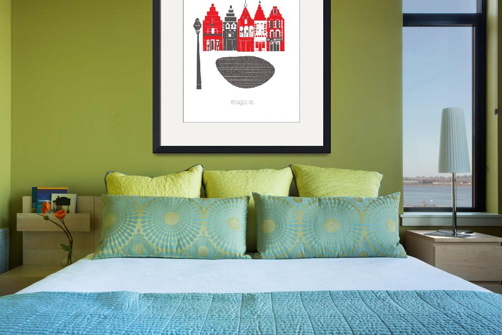 """""""Brugge Modern Cityscape Illustration&quot  by AlbieDesigns"""
