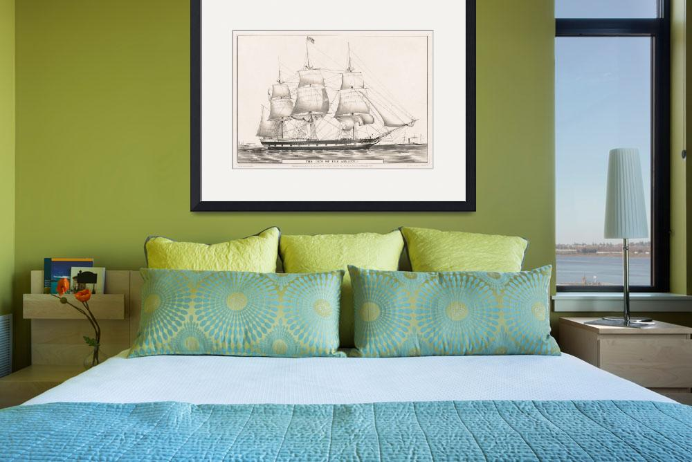"""Vintage Illustration of a Frigate Sailboat (1849)&quot  by Alleycatshirts"