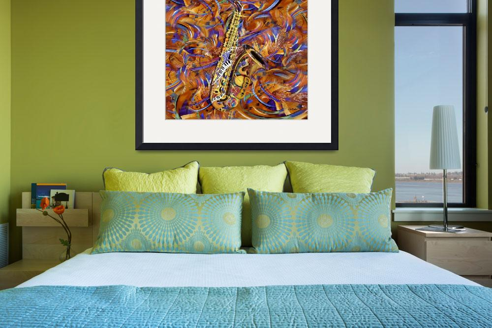"""""""Sax In The City Jazzy Music Painting&quot  (2012) by JuleezArt"""