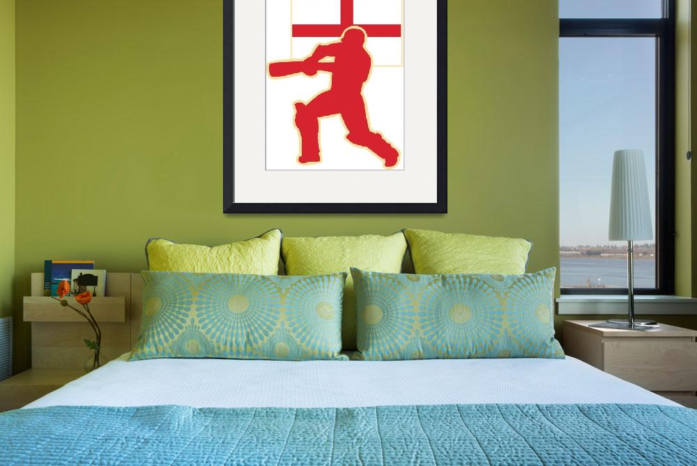 """cricket sports batsman England flag&quot  (2013) by patrimonio"