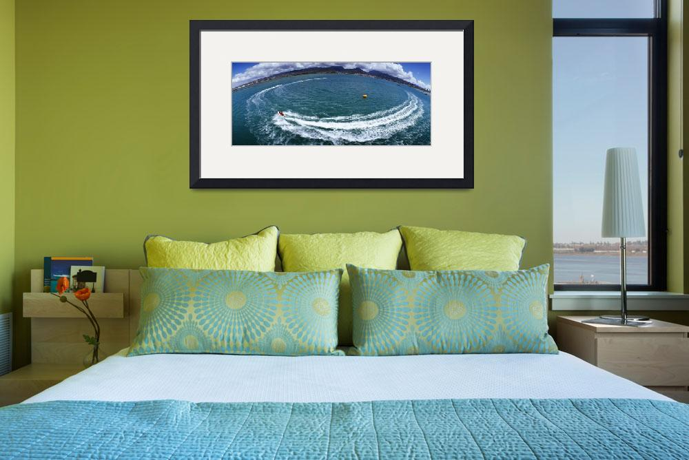 """""""High angle view of boats circling in water""""  by Panoramic_Images"""