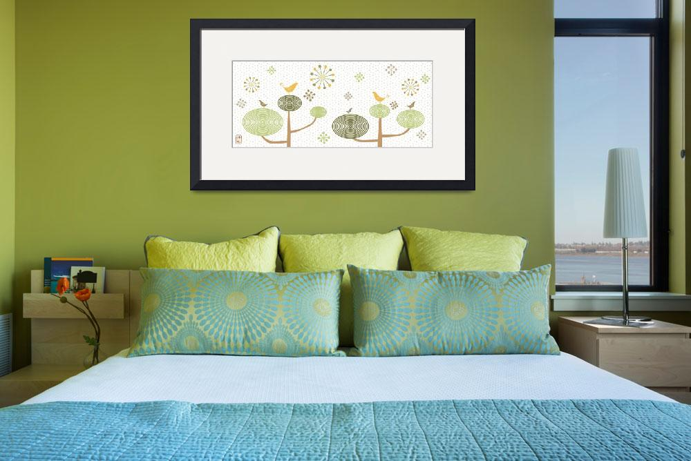 """""""Birds In Love (White) Illustration Print&quot  (2007) by euphorianchic"""