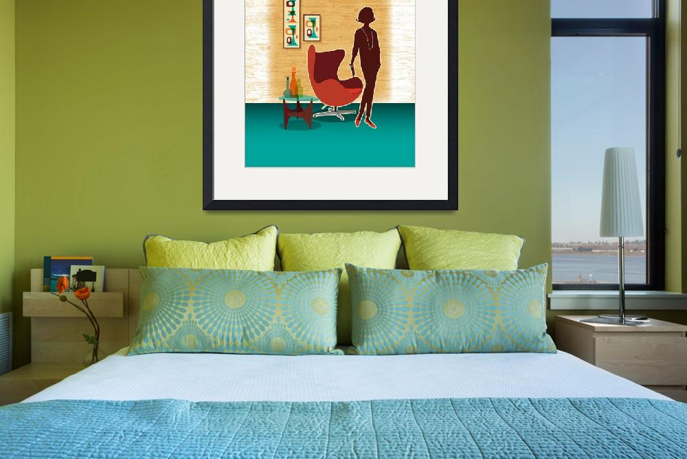"""""""Mid Century Modern Egg Chair + Swanky Lady&quot  (2014) by DianeDempseyDesign"""