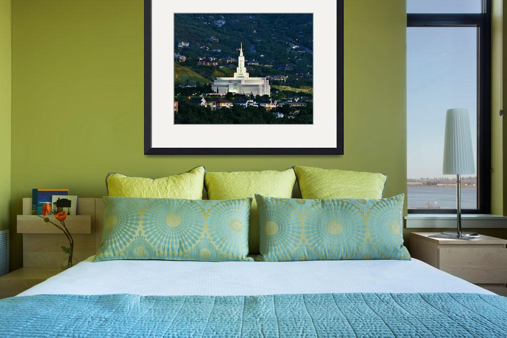 """""""20x24 Green Hills Bountiful Temple&quot  by lightvoyages"""