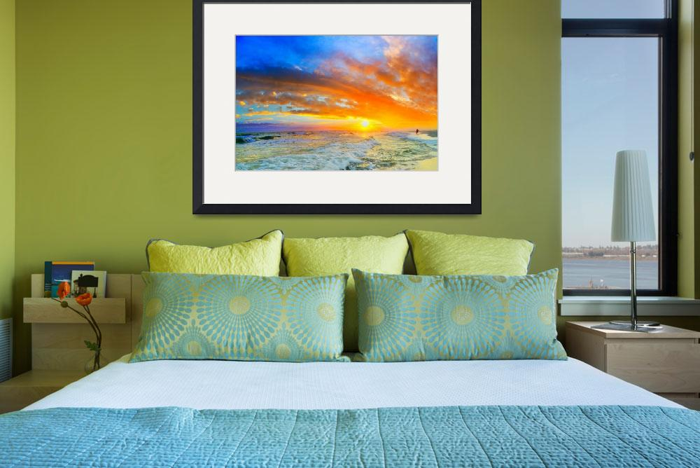 """""""beautiful ocean sunset waves red orange blue sky&quot  (2015) by eszra"""