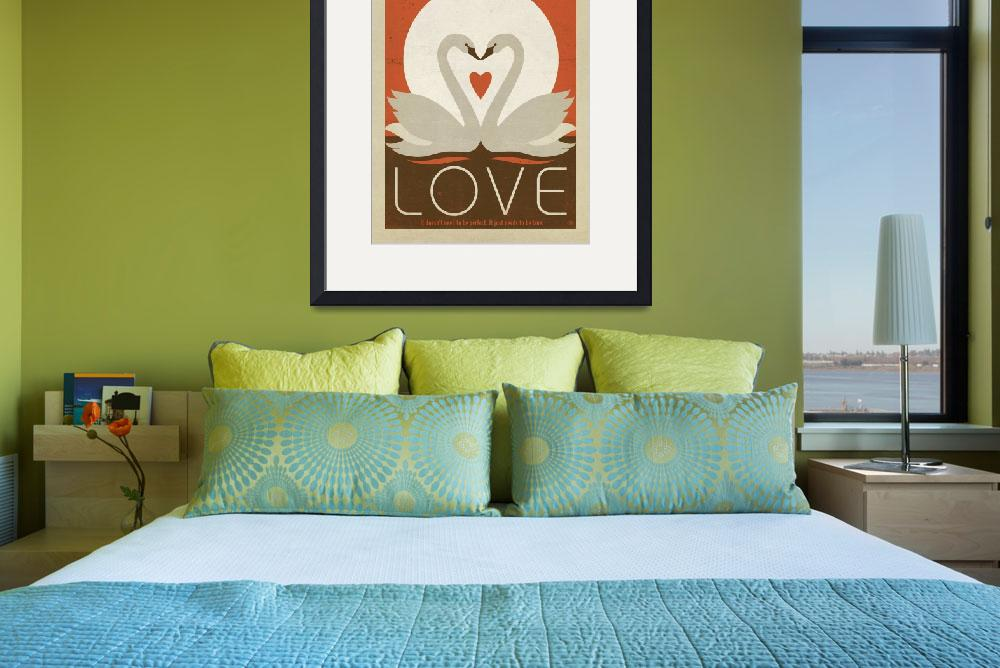"""""""Love Swans Retro Poster""""  by artlicensing"""