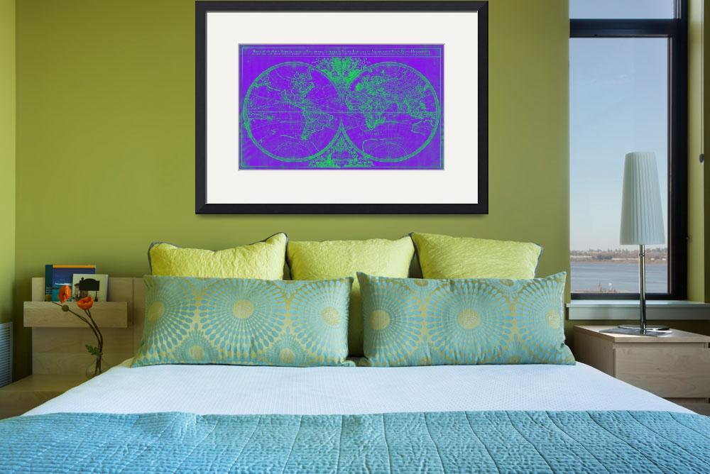 """""""World Map (1691) Purple & Green&quot  by Alleycatshirts"""
