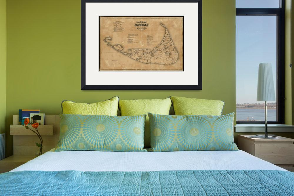 """""""Vintage Map of Nantucket (1869)&quot  by Alleycatshirts"""