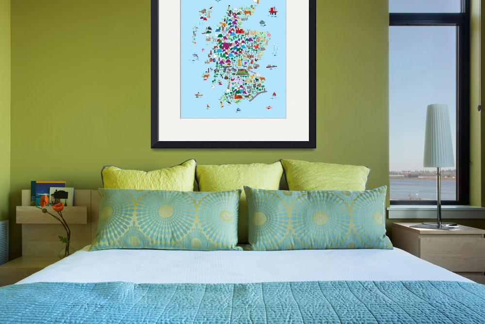 """""""Animal Map of Scotland for children and kids&quot  (2017) by ModernArtPrints"""