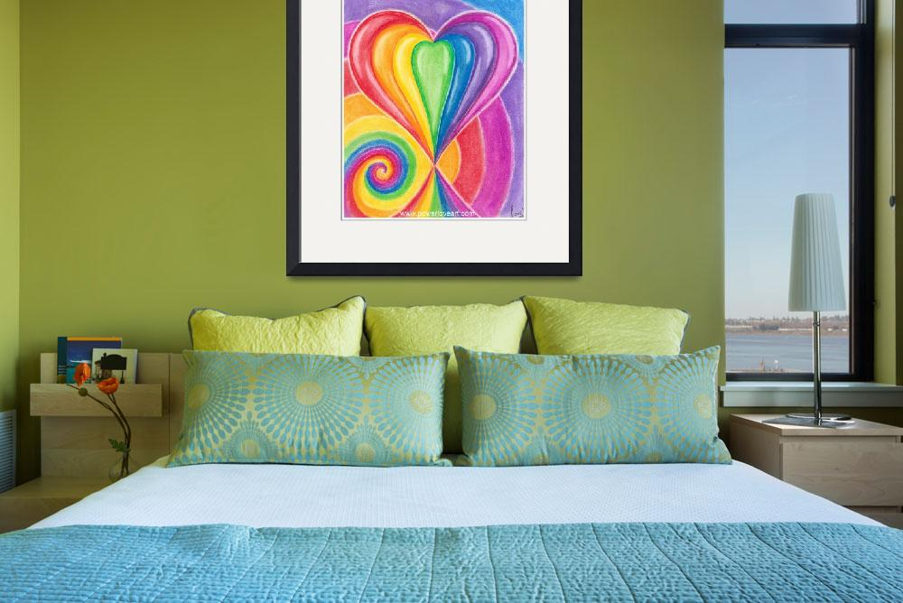 """""""rainbow-love-heart-with-spiral-for-kids-art&quot  by Francescaloveartist"""