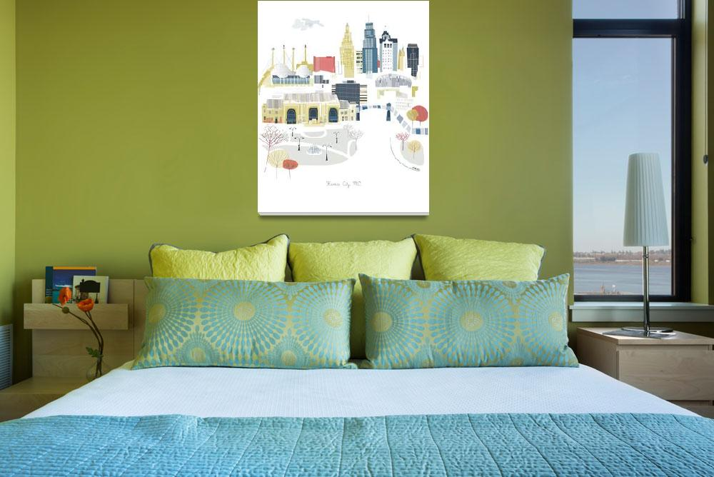 """""""Kansas City Modern Cityscape Illustration""""  by AlbieDesigns"""