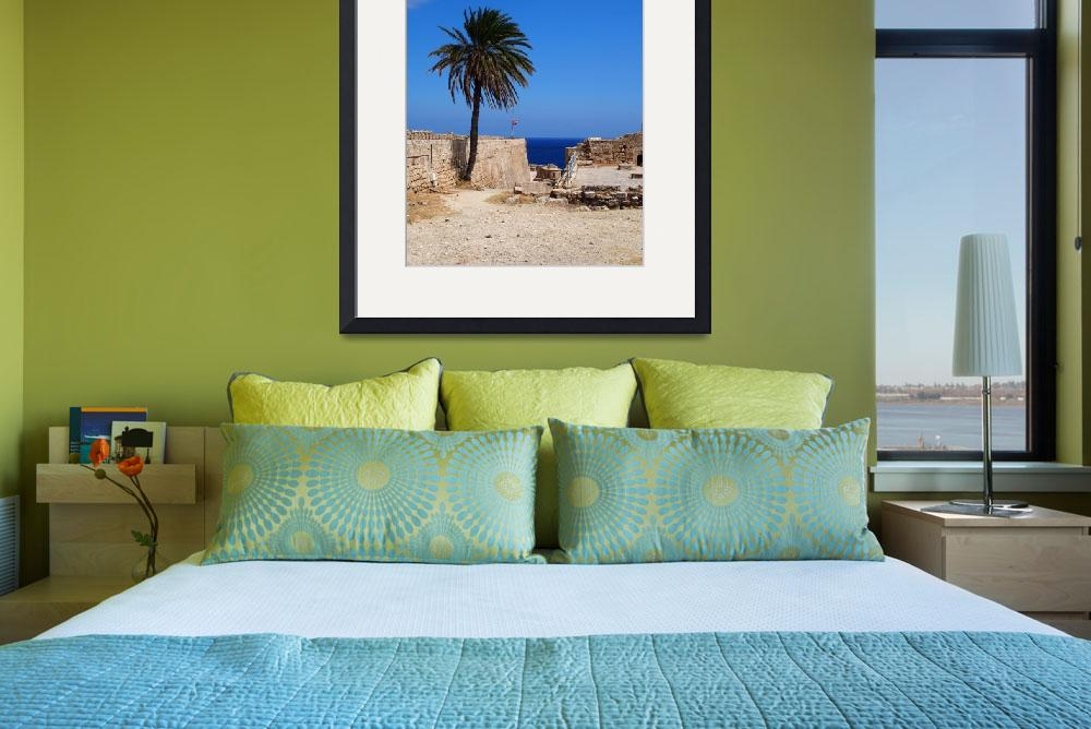 """""""Cyprian Palm Tree at Kyrenia Castle, Cyprus&quot  (2015) by Artsart"""