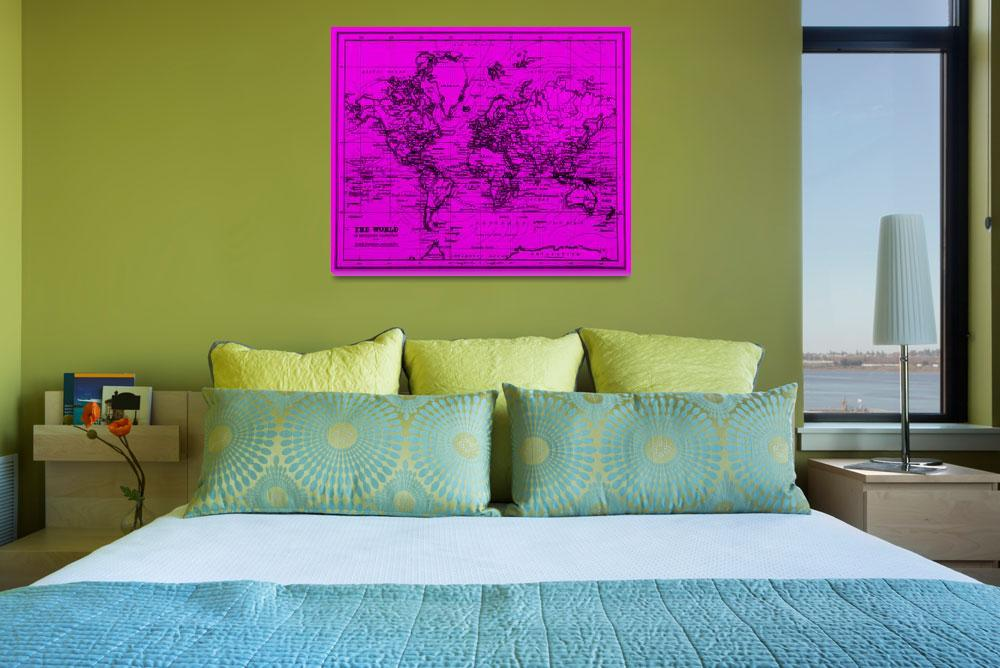 """World Map (1899) Purple & Black""  by Alleycatshirts"