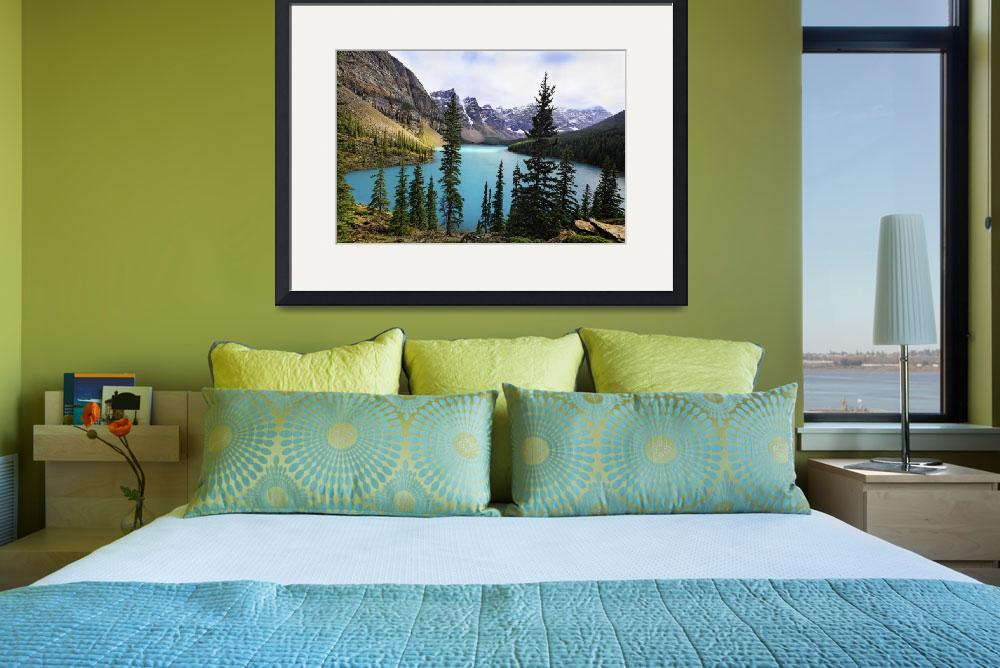 """""""High Angle View of an Alpine Lake, Moraine Lake&quot  (2009) by George_Oze"""