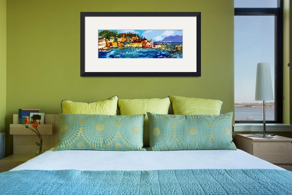 """""""Sestri Levante Italy Liguria Panoramic Abstract&quot  (2012) by GinetteCallaway"""
