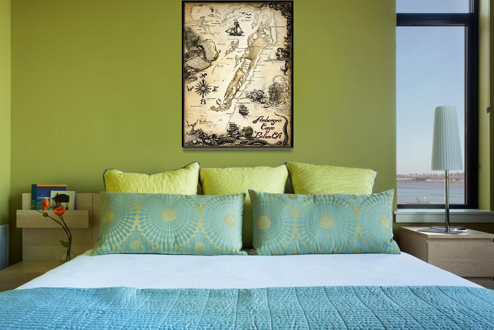 """""""Ambergris Caye, Belize Nautical Chart&quot  by savanna"""