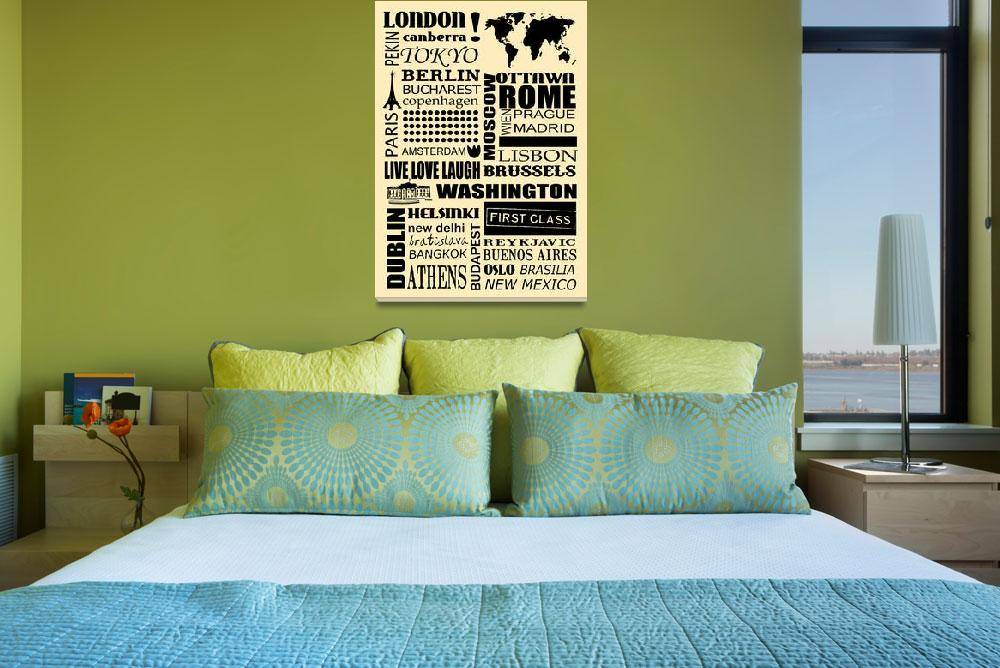 """""""World capitals retro poster&quot  (2011) by HelloToYouAll"""