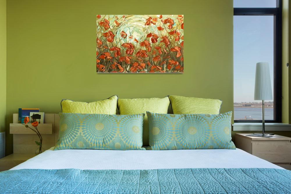 """aqua amber poppies&quot  (2012) by modernhouseart"