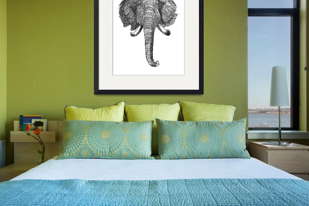 """Vintage Elephant Head Illustration (1872)""  by Alleycatshirts"
