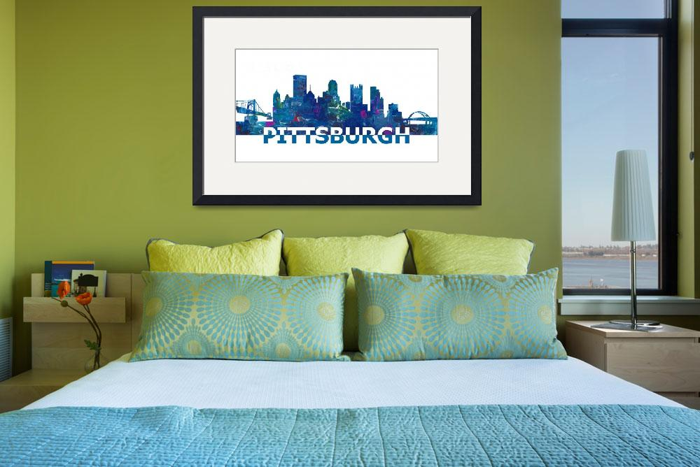 """Pittsburgh_Skyline_Scissor_Cut_Giant_Text&quot  by arthop77"