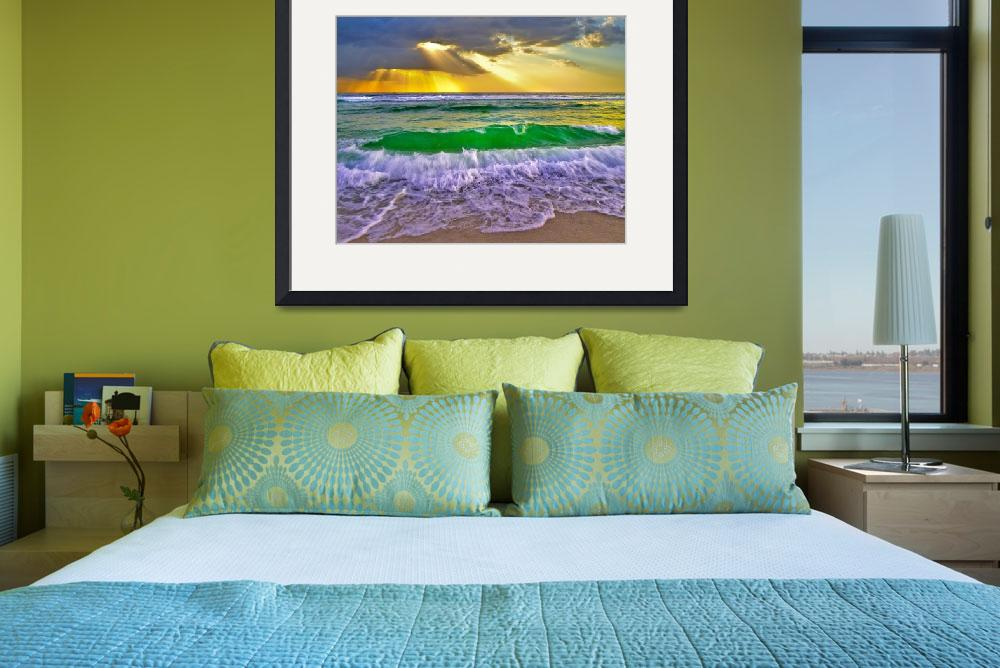 """""""Breaking Wave Gold Sunrays Sunset Fine Art Prints&quot  (2012) by eszra"""