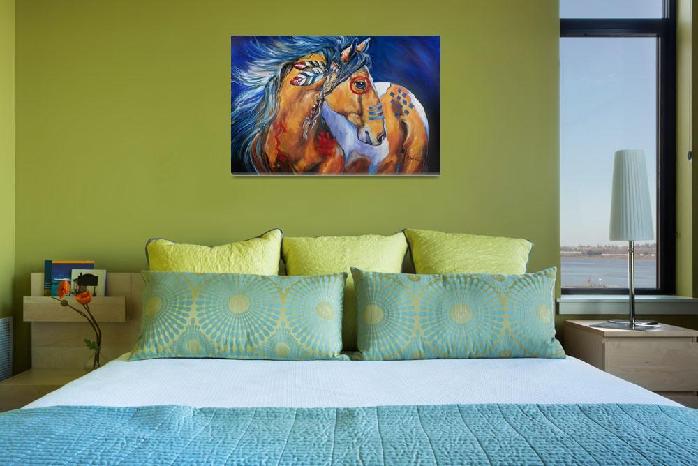 """""""BOLD AND BRAVE INDIAN WAR HORSE&quot  (2013) by MBaldwinFineArt2006"""