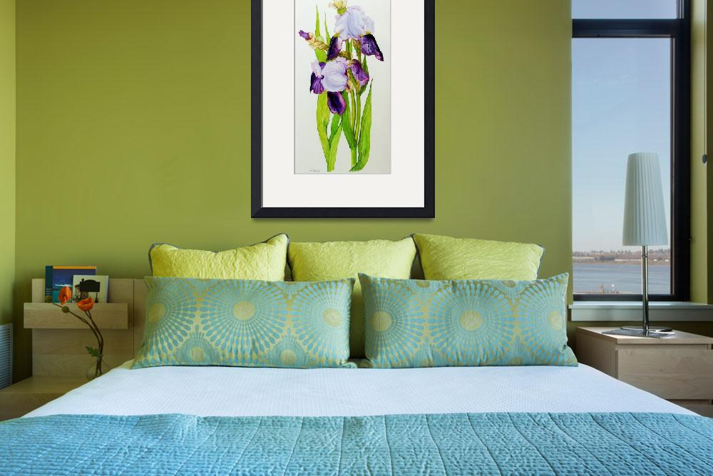 """Mauve and purple irises with two buds&quot  by fineartmasters"