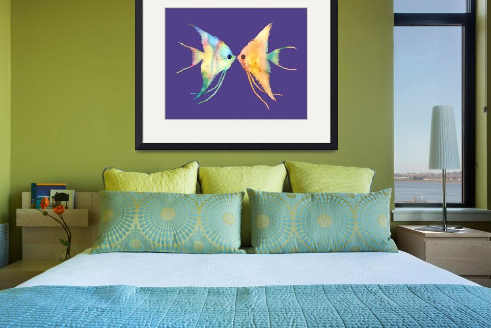 """Angelfish Kissing on Ultra Violet&quot  by HaileyWatermedia"