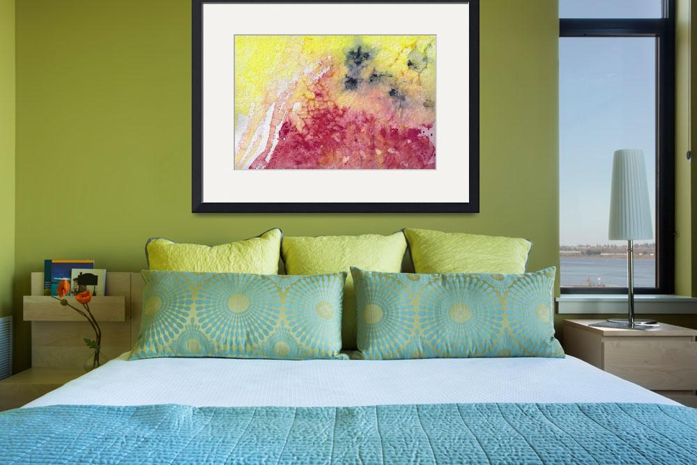 """""""Abstract Watercolor Texture Pink and Yellow""""  (2014) by GinetteCallaway"""