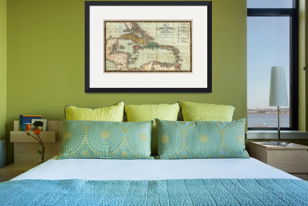 """""""Vintage Map of The Caribbean (1834)&quot  by Alleycatshirts"""