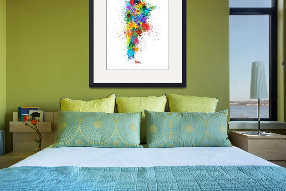 """Argentina Paint Splashes Map""  (2018) by ModernArtPrints"
