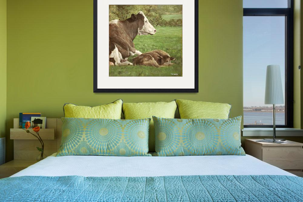 """""""cow and calf in field&quot  (2010) by martindavey"""