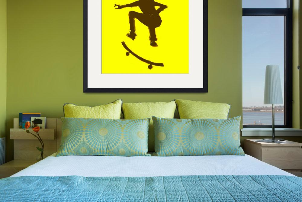 """Skateboarder 2 . yellow brown (c)&quot  (2014) by edmarion"