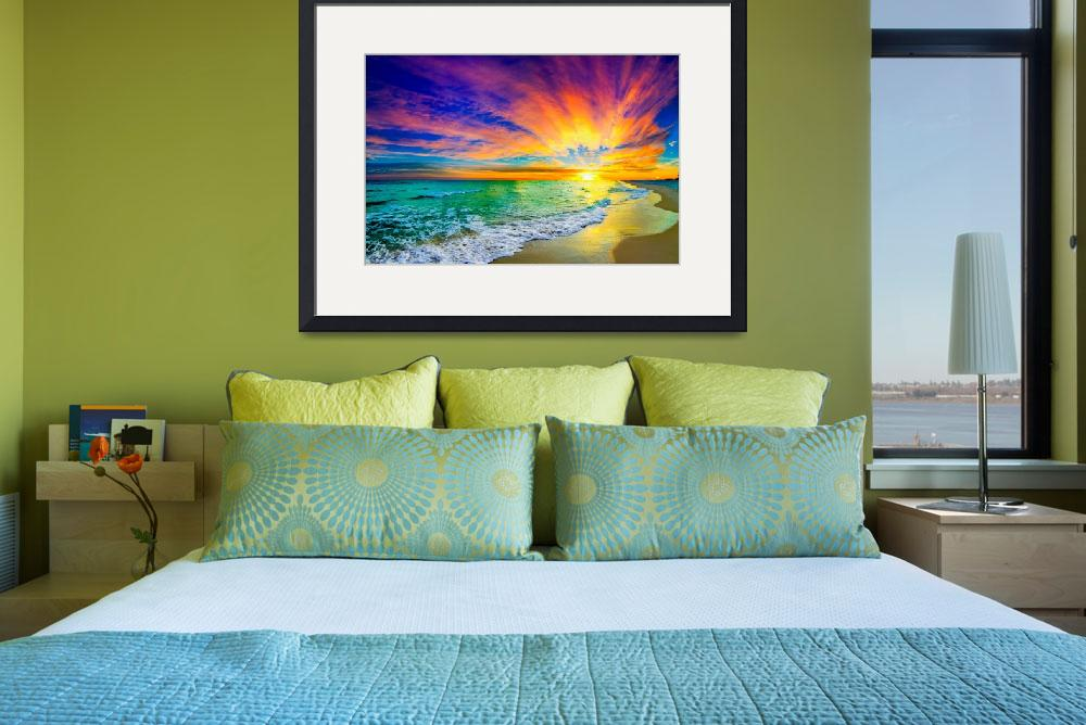 """""""colorful ocean sunset orange and red beach sunset&quot  (2014) by eszra"""
