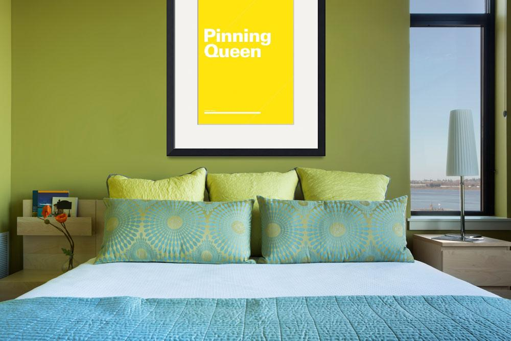 """""""Pinning Queen typographic poster - Yellow and Whit&quot  (2012) by kken"""