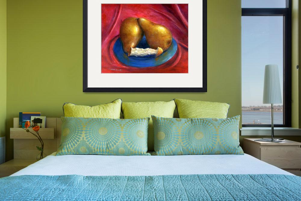 """""""Still Life Art; Gold Pears, Red Background&quot  (2006) by Lenora"""