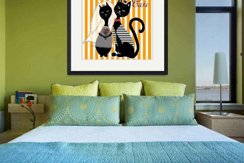 """""""Love Cats Wedding""""  (2015) by paintingsbygretzky"""