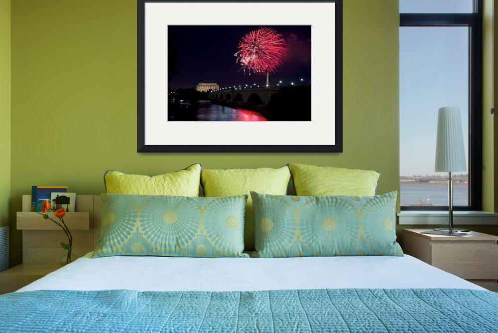 """""""Fireworks over the Lincoln Memorial, Red&quot  (2009) by paulbohman"""