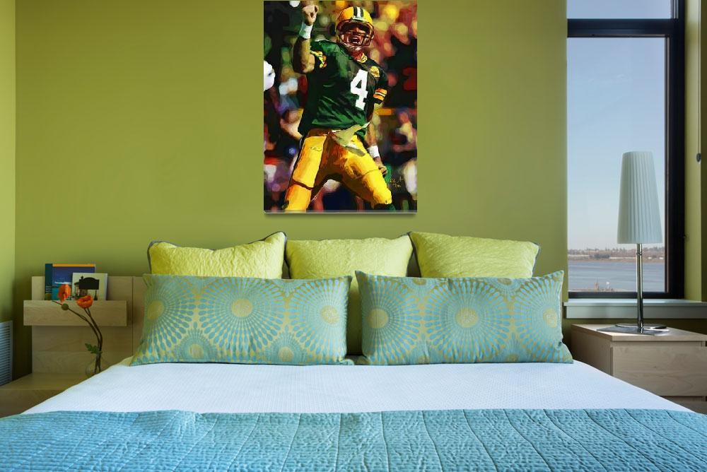 """Brett Favre, Green Bay Packers NFL Art""  (2011) by artofvela"
