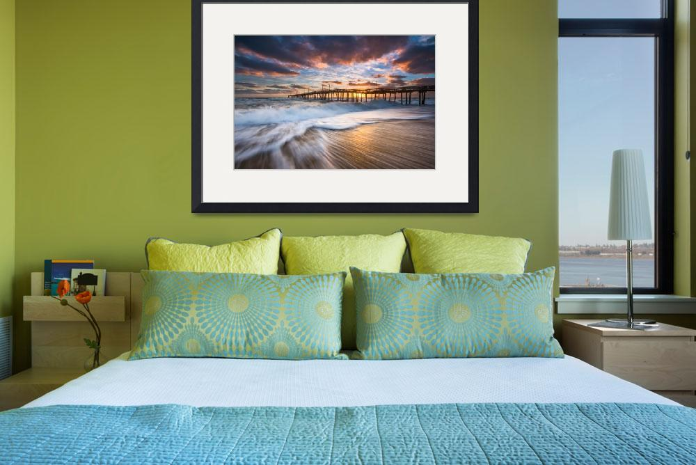 """""""North Carolina Outer Banks Seascape Nags Head Pier&quot  (2017) by DAPhoto"""